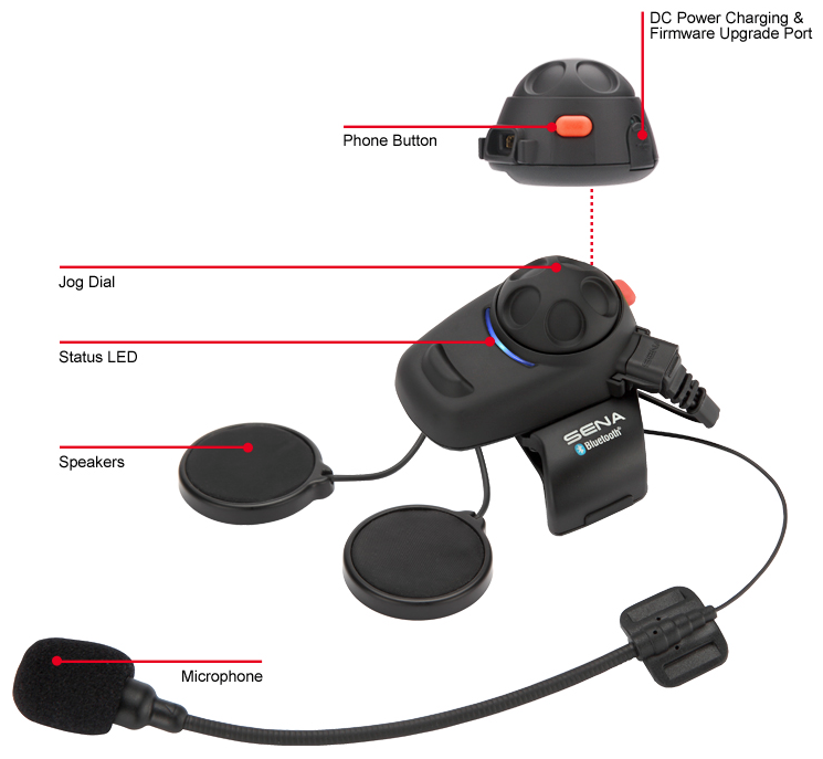 Sena SMH5-02 Bluetooth Headset:Intercom Full-Face Helmet Kit - details