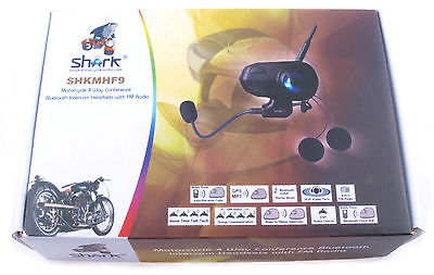 Shark Shkmhf9 Motorycycle Intercom 3800 Ft Bike-to-bike 4 Way Bluetooth Headset (duo set) - package box
